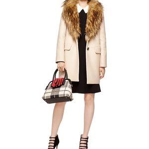 Kate Spade Faux Fur Wool Blend Coat Size 6